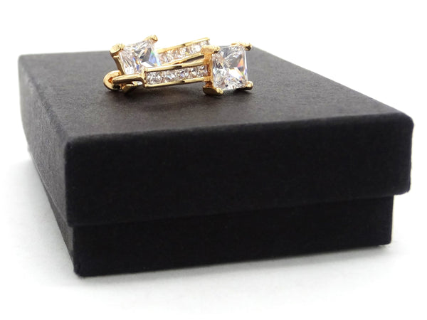 Gold square hoop princess earrings GIFT BOX
