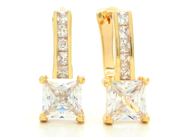 Gold square hoop princess earrings MAIN