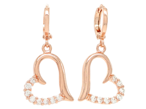 Rose Gold Drop Heart Earrings MAIN
