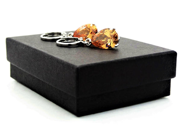 Citrine raindrop white gold earrings GIFT BOX