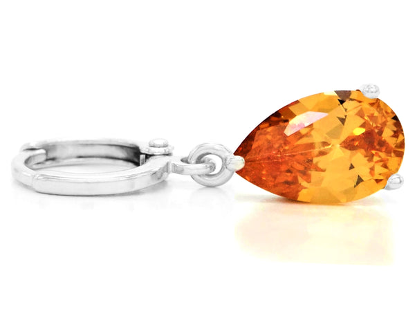 Citrine raindrop white gold earrings FRONT