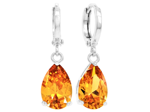 Citrine raindrop white gold earrings MAIN