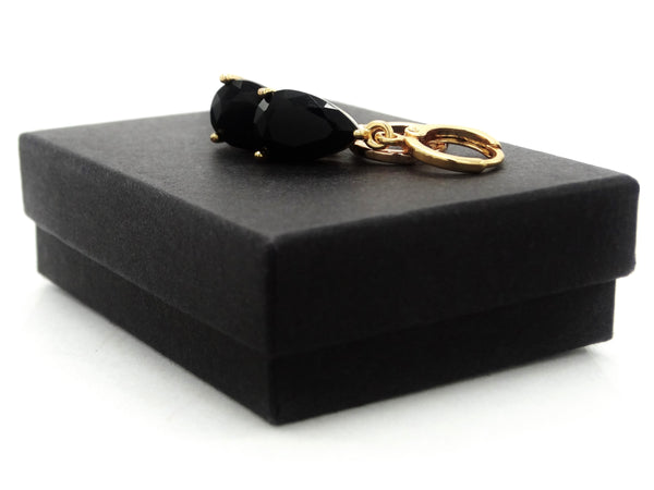 Yellow gold black pear moonstone necklace and earrings GIFT BOX
