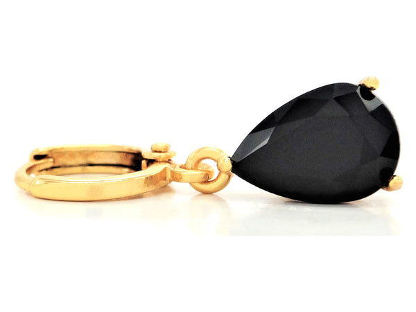 Black moonstone raindrop yellow gold earrings FRONT