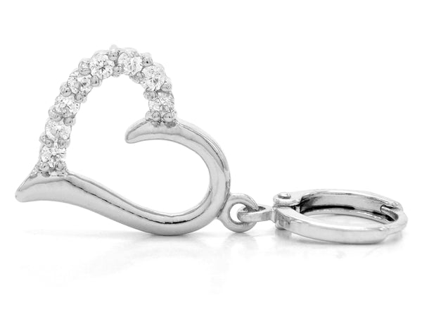 White gold drop heart earrings FRONT