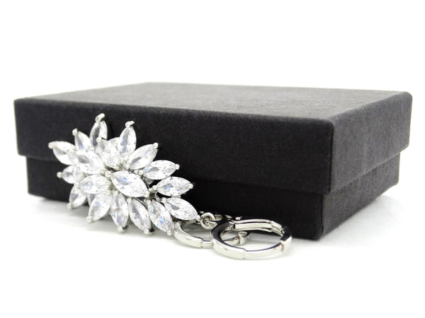 Sterling silver chandelier marquise earrings GIFT BOX