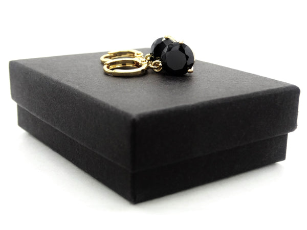 Black moonstone round yellow gold earrings GIFT BOX