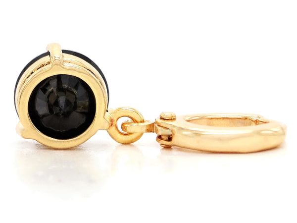 Black moonstone round yellow gold earrings BACK