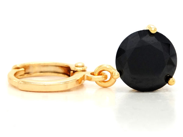 Black moonstone round yellow gold earrings FRONT