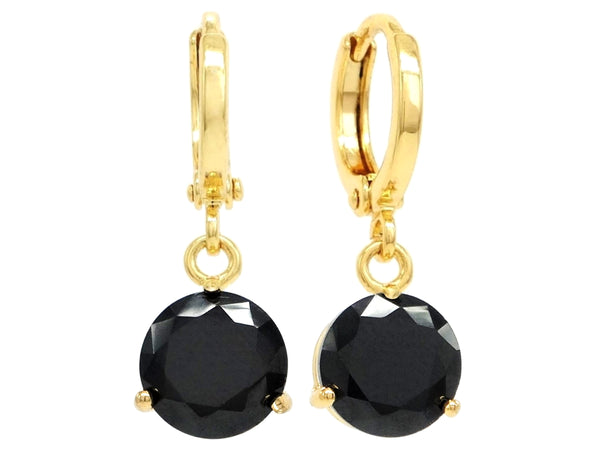 Black moonstone round yellow gold earrings MAIN
