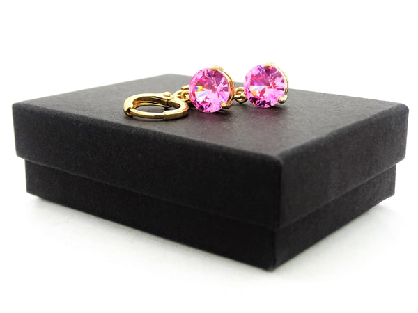 Yellow gold pink round gem necklace and earrings GIFT BOX