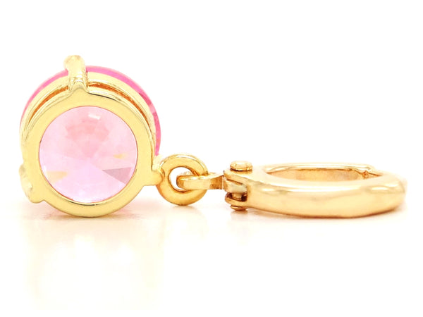 Yellow gold pink round gem necklace and earrings BACK