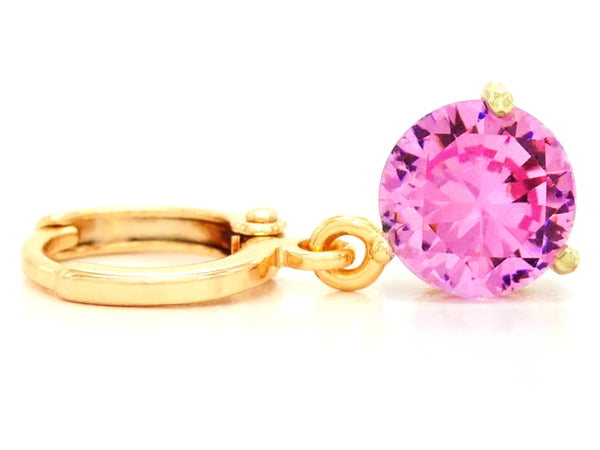 Pink gem gold earrings FRONT