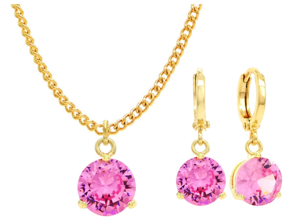 Yellow gold pink round gem necklace and earrings MAIN