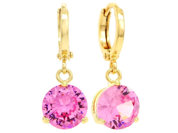 Pink gem gold earrings MAIN