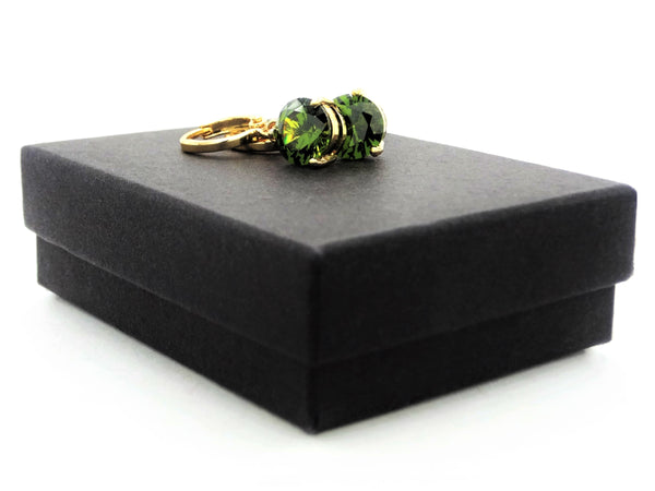 Green gem gold earrings GIFT BOX