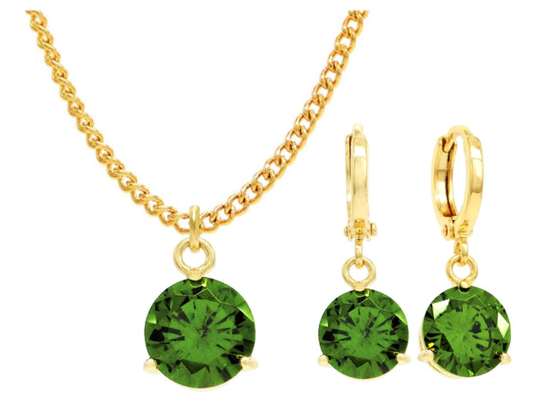 Yellow gold green round gem necklace and earrings MAIN