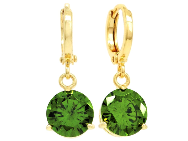 Green gem gold earrings MAIN