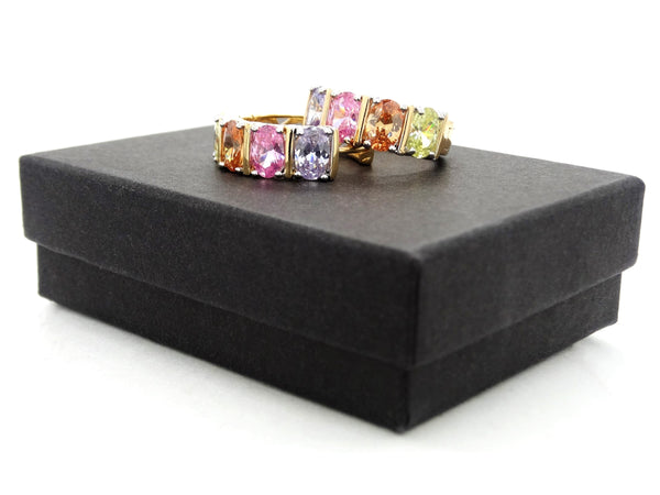 Gold different colored oval gem earrings GIFT BOX