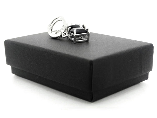 Black princess white gold earrings GIFT BOX