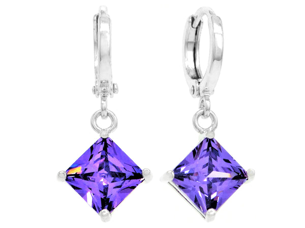 Purple princess white gold earrings MAIN