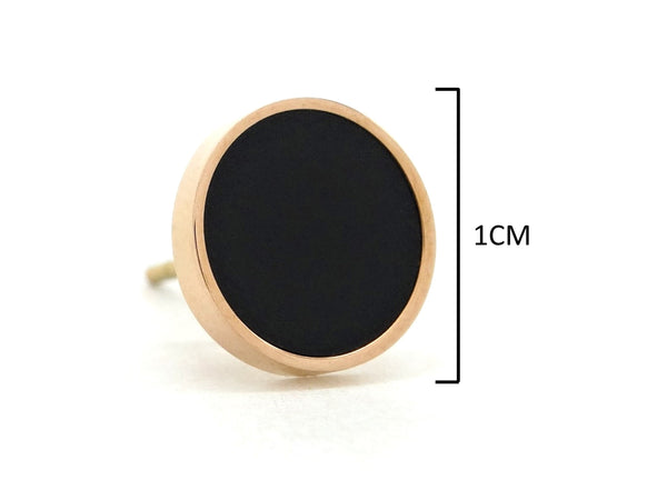 Rose gold round black moonstone jewellery set EARRINGS MEASUREMENT