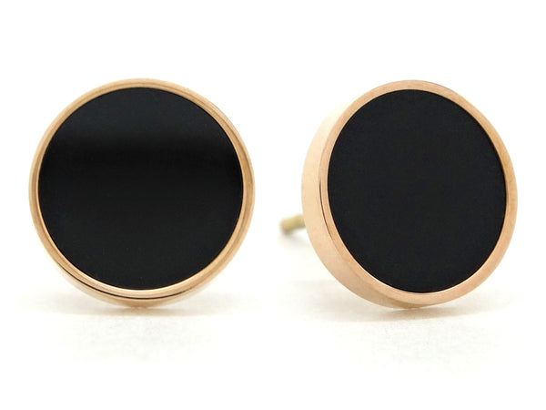 Rose gold black moonstone stud earrings MAIN