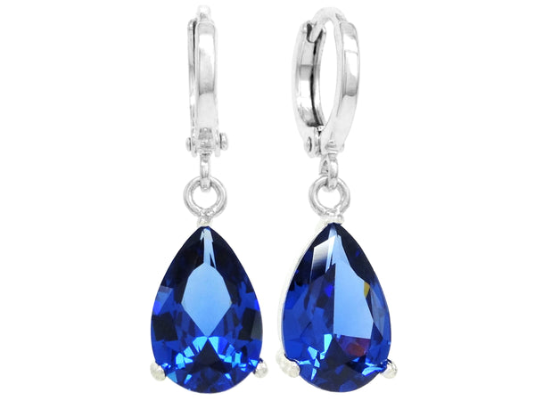 Blue raindrop white gold earrings MAIN
