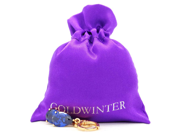 Blue raindrop yellow gold earrings GIFT BAG