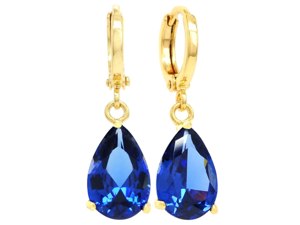 Blue raindrop yellow gold earrings MAIN