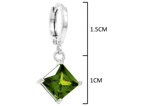 Green princess white gold earrings MEASUREMENT