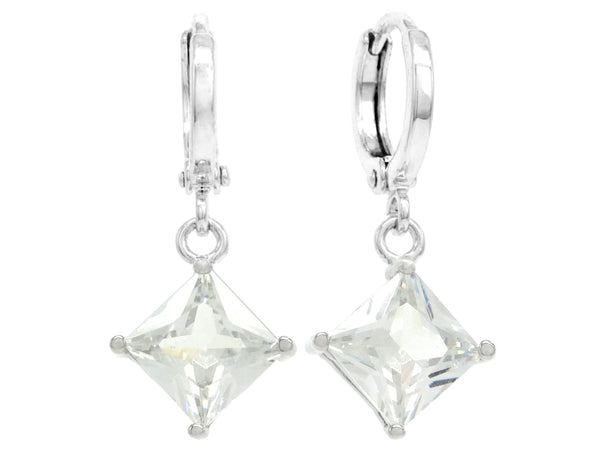 Clear princess white gold earrings MAIN