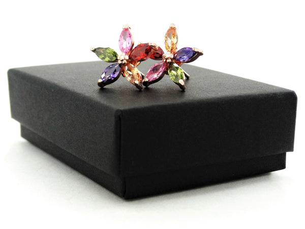 Rose gold marquise flower stud earrings GIFT BOX