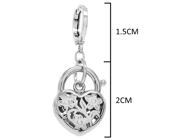 Decorated white gold heart earrings MEASUREMENT