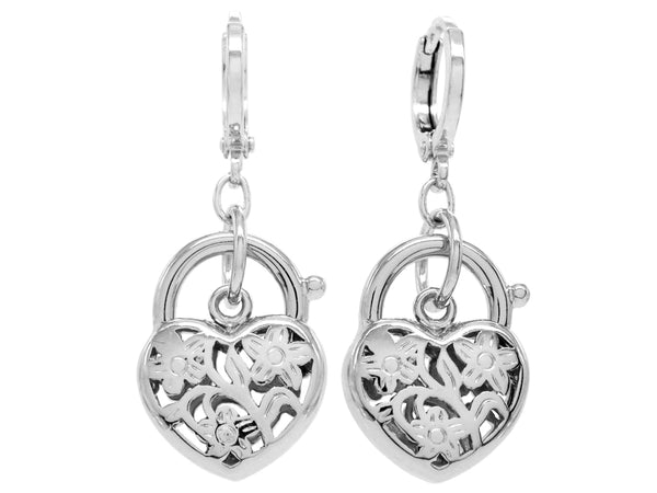 Decorated white gold heart earrings MAIN