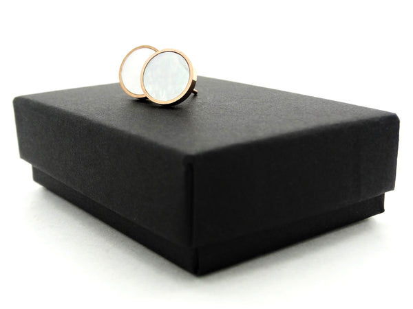 Rose gold white seashell stud earrings GIFT BOX