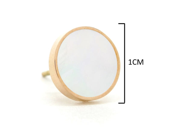 Rose gold white seashell stud earrings MEASUREMENT