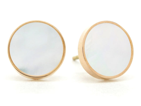 Rose gold white seashell stud earrings MAIN
