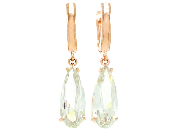 Rose gold long drop gem earrings MAIN