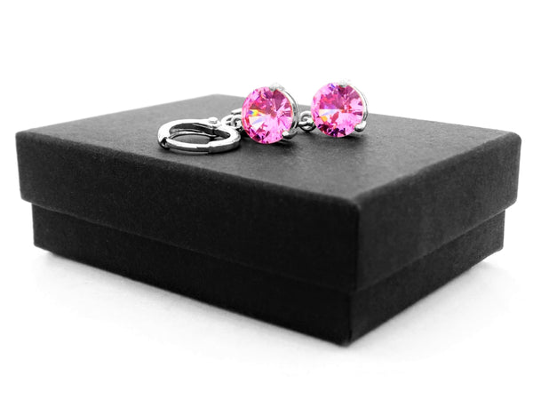 White gold pink round gem necklace and earrings GIFT BOX