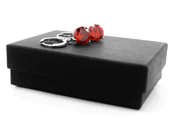 White gold red round gem necklace and earrings GIFT BOX