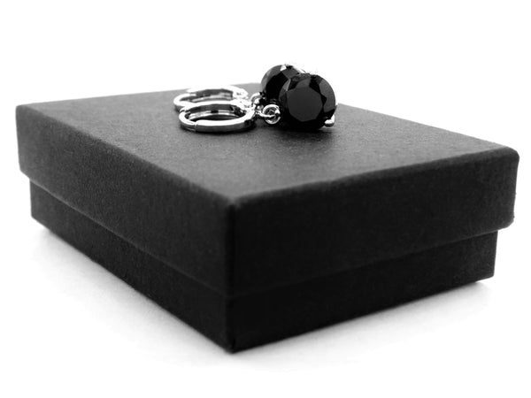 White gold black round gem necklace and earrings GIFT BOX
