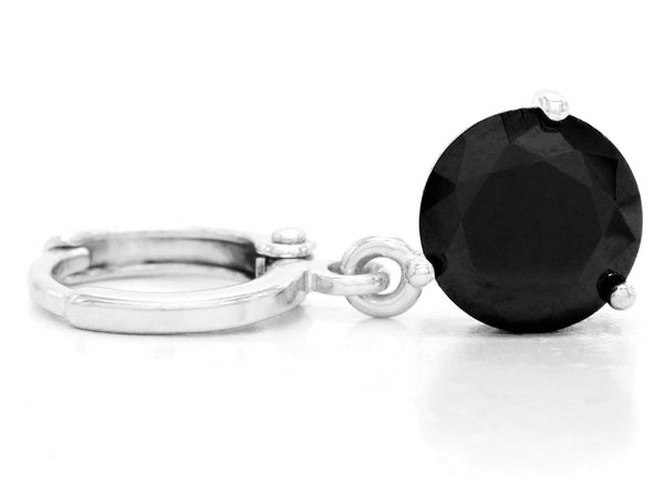 White gold black round gem necklace and earrings FRONT