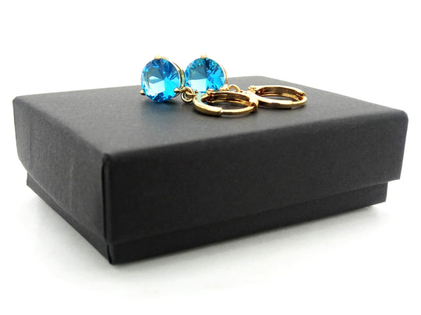 Blue gem yellow gold earrings GIFT BOX
