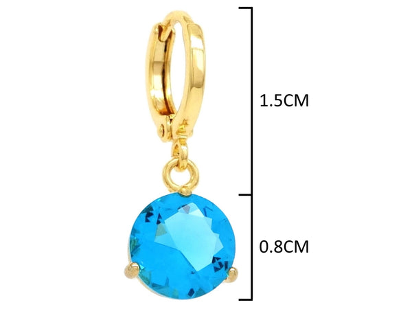 Blue gem yellow gold earrings MEASUREMENT