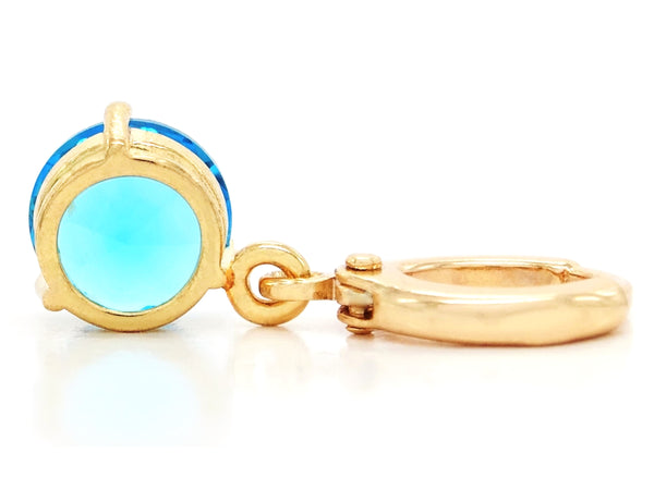 Blue gem yellow gold earrings BACK