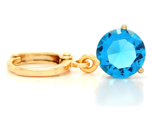Blue gem yellow gold earrings FRONT