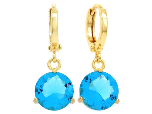 Blue gem yellow gold earrings MAIN