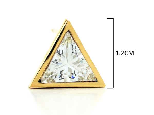 White trillion gold stud earrings MEASUREMENT