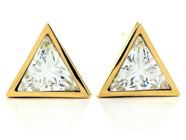 White trillion gold stud earrings MAIN